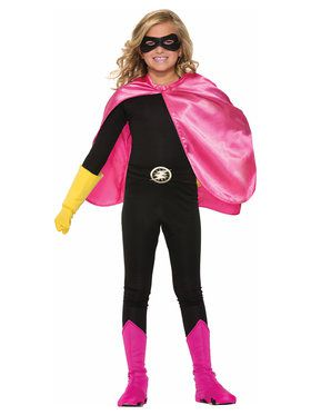 Super Hero Cape Pink Girls Costume