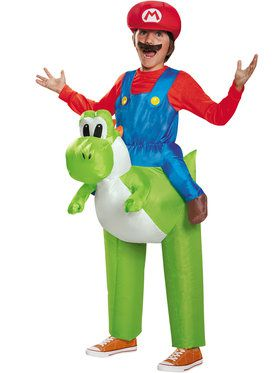Super Mario Brothers Mario Riding Yoshi Inflatable Boy's Costume