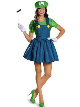 Adult Luigi with Skirt Super Mario Costume