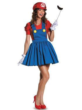 Adult Mario with Skirt Super Mario Costume