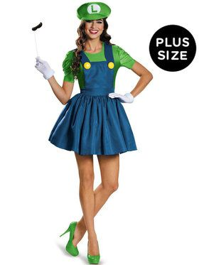 Plus Size Super Mario: Luigi Costume With Skirt For Women