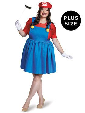Plus Size Super Mario: Mario Costume w/Skirt For Women