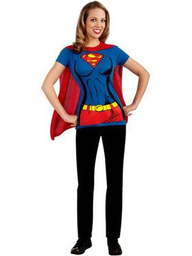 Supergirl T-Shirt w/ Cape Womens Costume