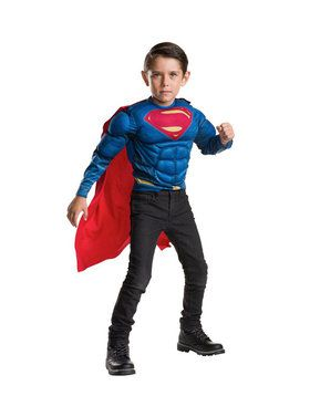 Childrens Deluxe Superman Muscle Chest Shirt and Cape Costume