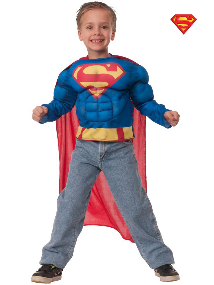 Superman Muscle Chest Shirt Costume for Kids IBRG31527-S