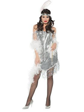 Swingin Silver Flapper Women's Costume
