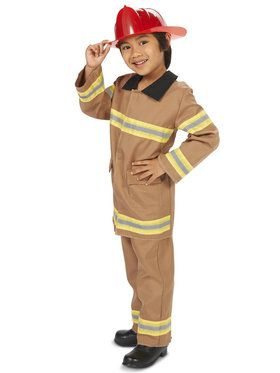 Tan Firefighter with Helmet Costume For Children