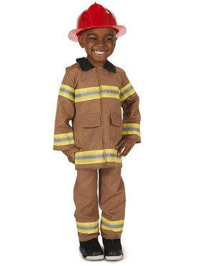 Tan Firefighter with Helmet Costume For Toddlers