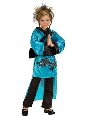 Teal Dragon Girl Kids Costume