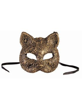 Textured Cat Mask Gold Accessory