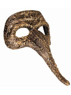 Textured Long Nose Adult Mask Gold