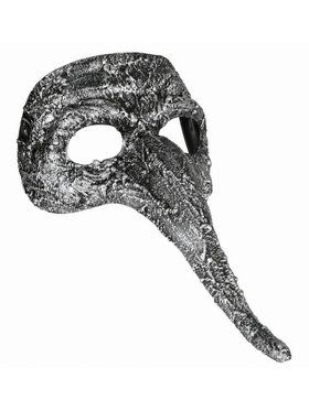 Textured Long Nose Mask Adult Silver