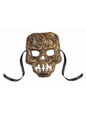Textured Skull Mask Adult Gold
