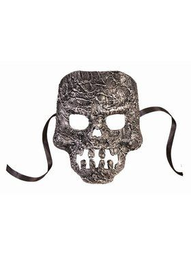 Textured Skull Mask Adult Silver