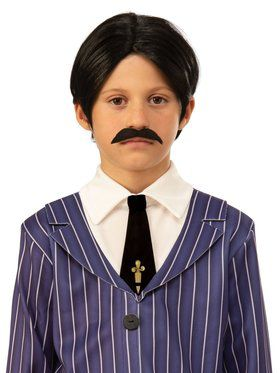 The Addams Family Kid's Gomez Wig and Moustache Accessory
