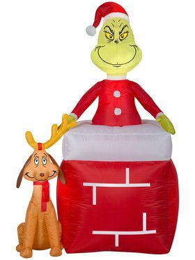 The Grinch and Max Chimney Airblown Decoration