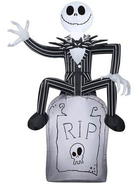 Inflatable Nightmare Before Christmas Pumpkin King on Tombstone