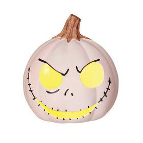 "The Nightmare Before Christmas Jack Skellington 6"" White Light-Up Pumpkin"