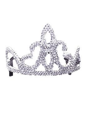 Tiara Plastic With Combs Silver Classic