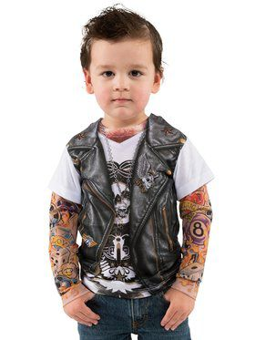 Toddler's Tattoo Tee W/Mesh Tattoo Sleeves Costume