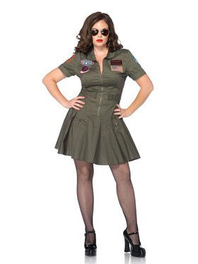 Top Gun Flight Dress Plus Size Adult Costume