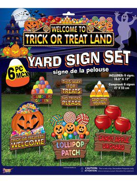 Trick Or Treat Land Lawn Sign Set Decoration