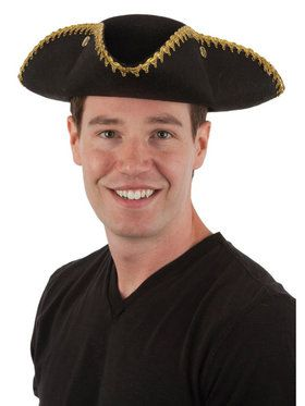 Tricorn Permalux Hat with Gold Binding for Adults
