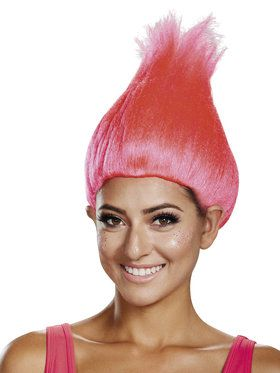 Adult Trolls Hot Pink Wig For Adults