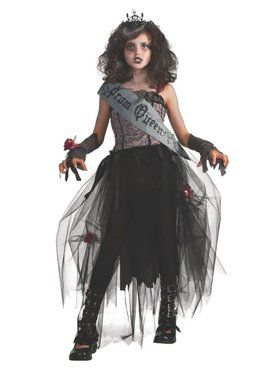 Tween Gothic Prom Queen Girls Costume