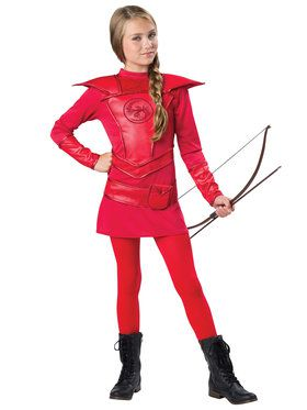 Tween Red Warrior Huntress Girl's Costume