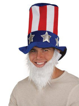 Uncle Sam Velvet Hat W/Beard