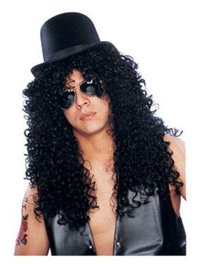 Unisex Deluxe Curly Black Rocker Wig Adult