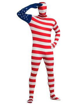 USA Flag Skin Suit Mens Costume