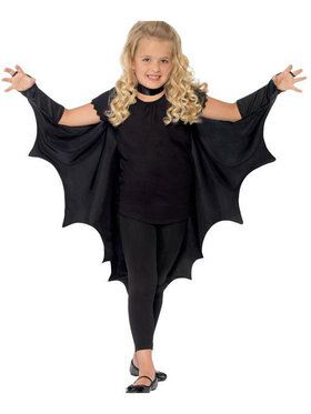 Vampire Bat Wings With High Collar Girl's Costume