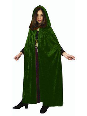 Kid's Panne Velvet Hooded Cloak