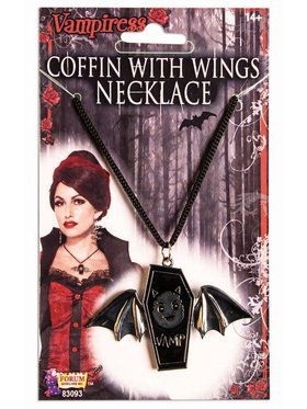 Vampire Coffin With Wings Necklace Accessory