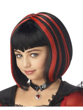 Vampire Girl Black and Red Wig Child/tween