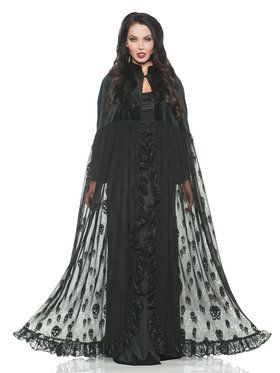 Velvet and Mesh Skull Cape Women's Costume