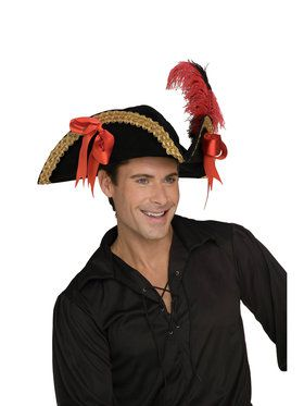 Velvet Pirate Costume Hat for Adults