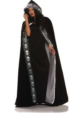 Velvet Skull Cape Women's Costume