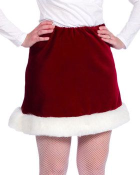 Velveteen Ms Santa Skirt - Red
