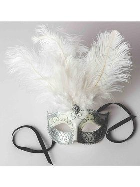 Venetian Deluxe White Mask with Feathers