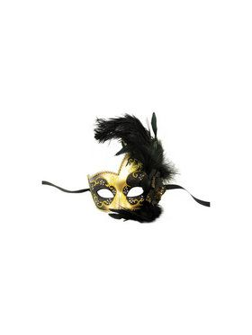 Venetian Style Blue and Gold Masquerade Mask with Side Feathers
