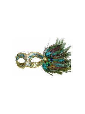 Venetian Style Masquerade Mask with Crystals and Peacock Feathers