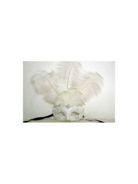 Venetian Style White Masquerade Mask with Feathers
