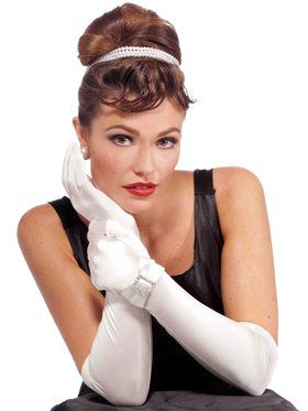 Vintage Hollywood Long Gloves with faux diamond Buckle - White