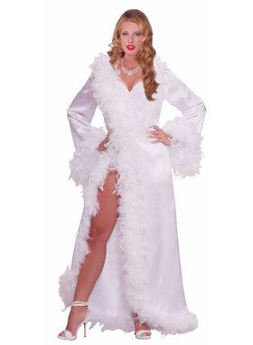 Vintage Hollywood Marabou Satin Robe Costume For Adults