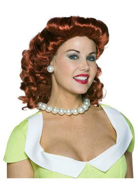 Vintage Housewife Red Wig Adult