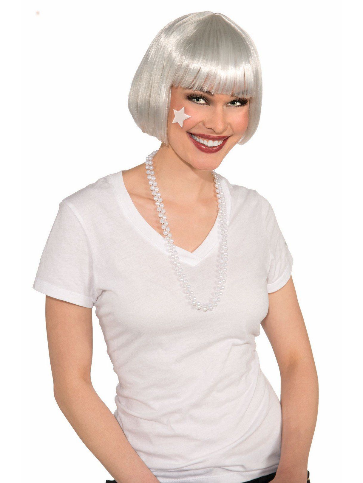 glossy white short wig - costume accessories for 2018 | wholesale