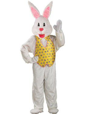 White Easter Bunny Mascot With Yellow Vest Adult Costume